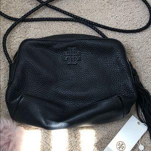 NWT Tory Burch black leather crossbody bag